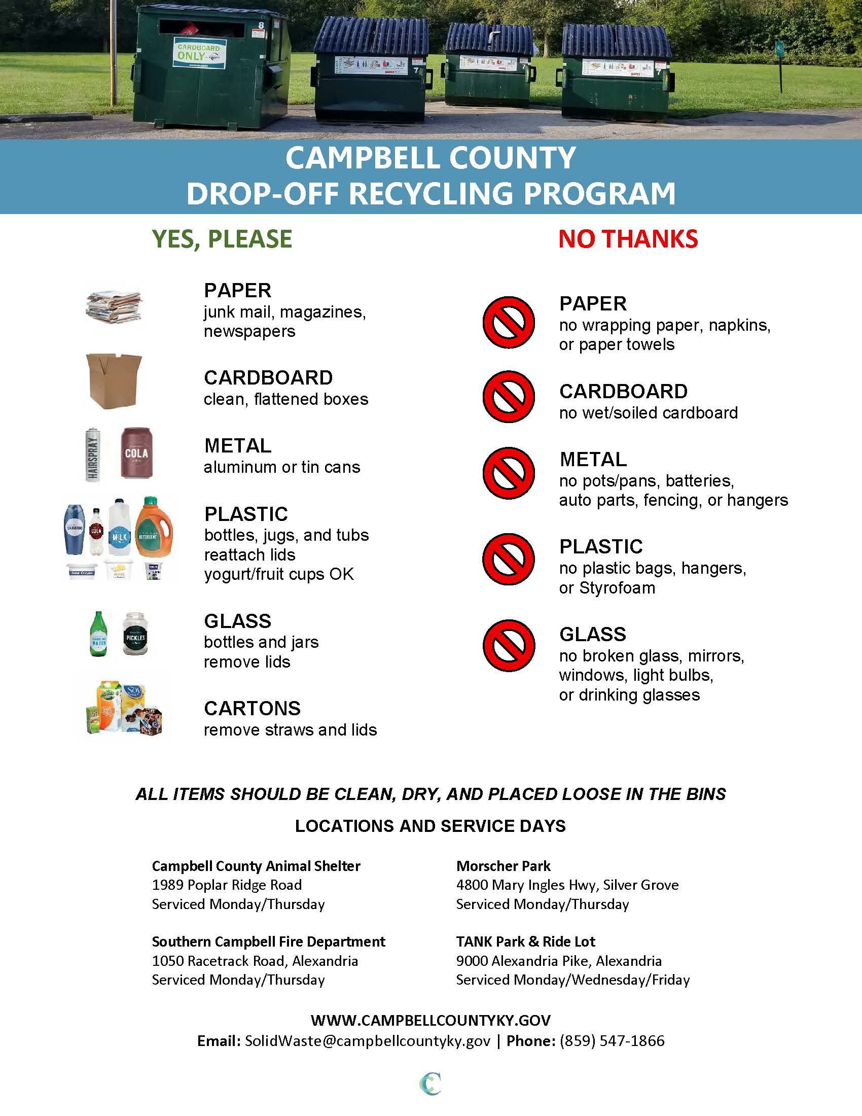 Drop Off Recycling Program Flyer